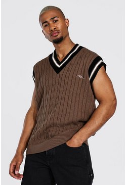 Taupe beige Man Cable Knit Oversized Singlet With Stripes