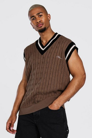 Taupe beige Man Cable Knit Oversized Vest With Stripes