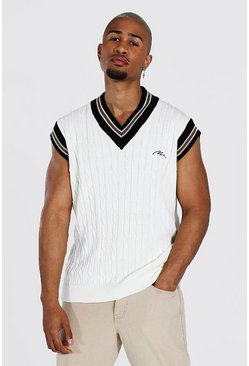 Cream white Man Cable Knit Oversized Singlet With Stripes