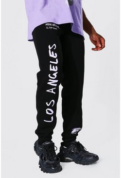 Black Regular Man Official La Graffiti Joggers