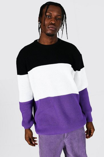 Purple Oversized Striped Ribbed Knit Jumper