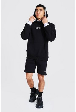 Black Man Sports Rib Hooded Short Tracksuit