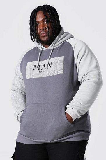 Grey Plus Size Man Roman Colour Block Hoodie