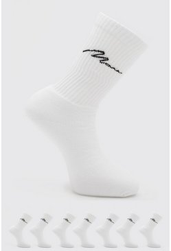 7 Pack Man Script Logo Plain Sport Socks, White bianco