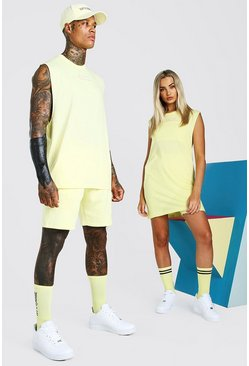 Yellow ABODE His Drop Armhole Tank & Short Set