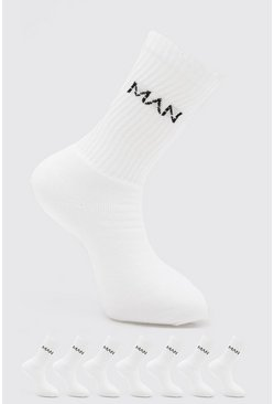 7 Pack Man Dash Logo Plain Sport Socks, White bianco