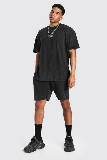 Black Oversized Offcl Acid Wash T-shirt & Short Set