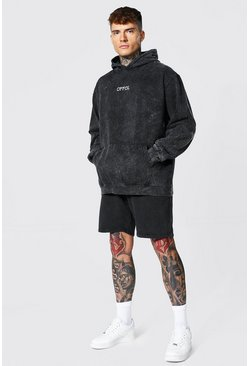 Oversized Offcl Acid Wash Short Tracksuit, Black nero
