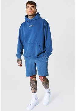 Oversized Offcl Acid Wash Short Tracksuit, Blue azzurro