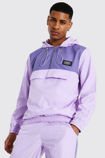 Lilac purple Man Colour Block Cagoule With Drawcords