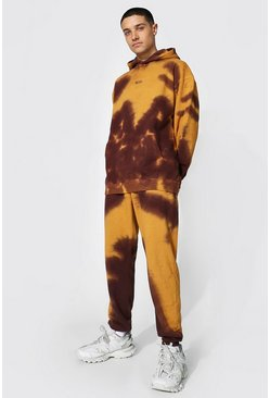 Brown Oversized Original Man Tie Dye Hood Tracksuit
