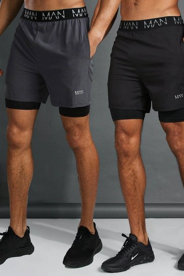 Multi Man Active 2 Pack 2-in-1 Shorts