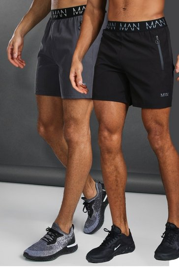 Multi Man Active 2 Pack Shorts With Zip Pockets