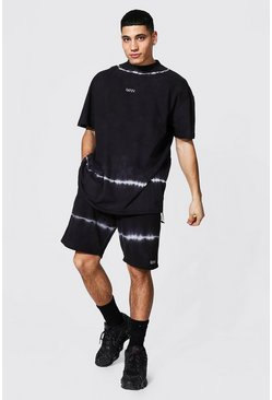 Black Oversized Man Tie Dye Toggle Tee & Short Set