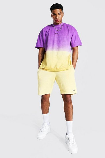Yellow Oversized Original Man Ombre Tee & Short Set