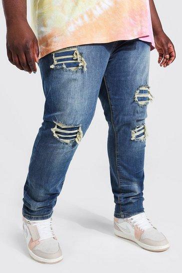 Indigo blue Plus Skinny Stretch Rip And Repair Jean