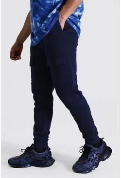 Navy Slim Front Pocket Panelled Cargo Jogger