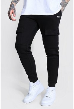 Slim Man Front Pocket Panelled Cargo Jogger, Black nero