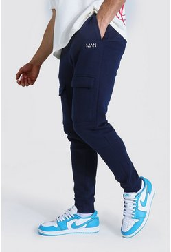Navy Slim Man Front Pocket Panelled Cargo Jogger