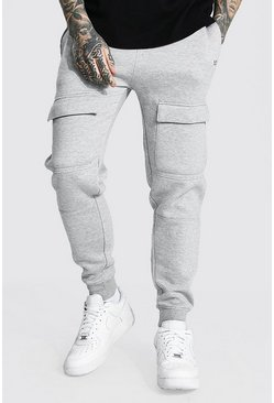Slim Man Front Pocket Panelled Cargo Jogger, Grey marl grigio