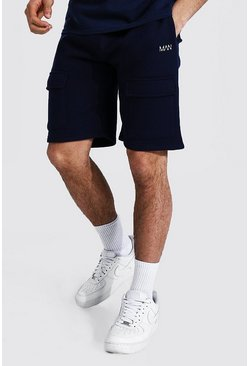 Navy Regular Man Front Pocket Cargo Jersey Shorts