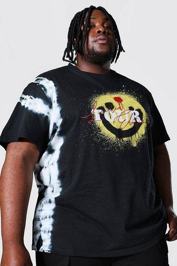 Black Plus Size Loose Fit Tie Dye Graffiti T-shirt