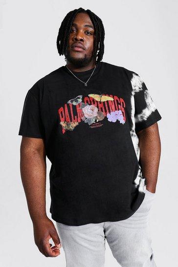 Black Plus Size Loose Tie Dye Palm Springs T-shirt