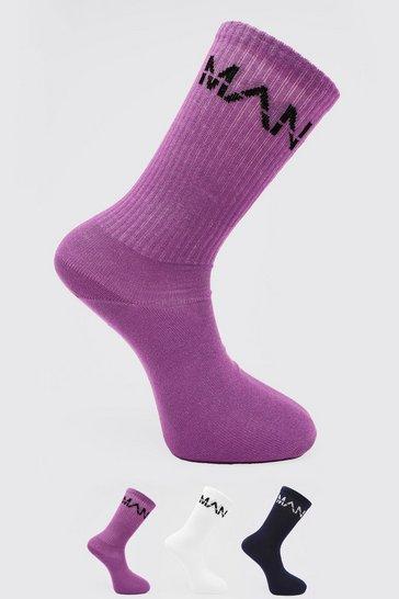 Multi 3 Pack Man Dash Socks