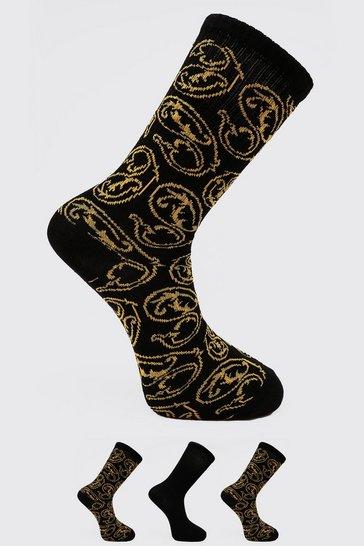 Multi 3 Pack Baroque Printed Socks