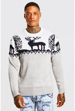 Grey marl grey Fair Isle Knitted Christmas Jumper