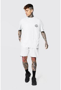 Oversized Man Acid Wash Extended Neck Tee Set, Ecru bianco