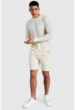 Ecru white Stripe Knitted Jumper And Short Set With Tab