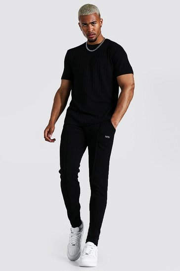 Black Stripe Knitted T-shirt And Jogger Set