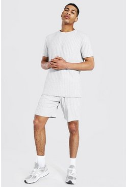 Grey marl Stripe Knitted T-shirt And Short Set With Tab