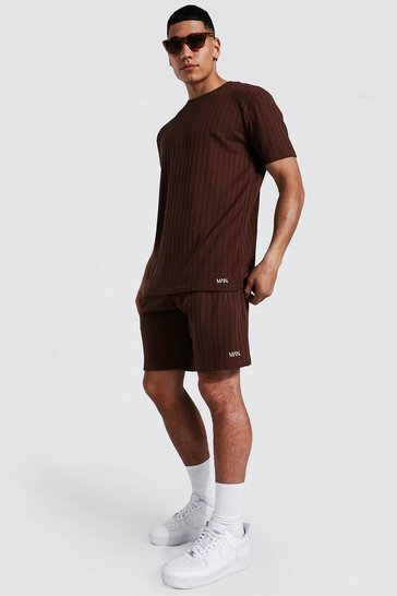 Chocolate brown Stripe Knitted T-shirt And Short Set With Tab