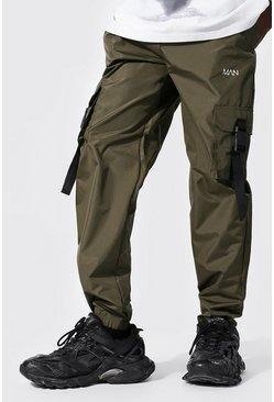 Original Man Shell Buckle Joggers, Khaki kaki