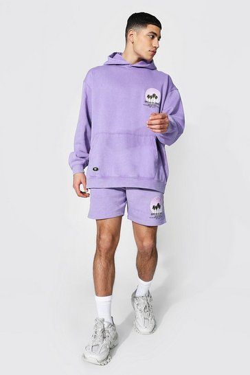 Purple Oversized Acid Wash Short Hood Tracksuit