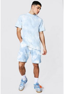 Light blue blue Man Extended Neck Tie Dye T-shirt & Short Set