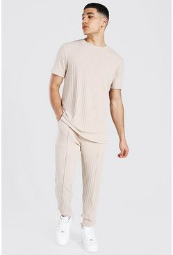 Taupe beige Stripe Knitted T-shirt And Jogger Set