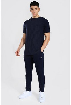 Navy Stripe Knitted T-shirt And Jogger Set