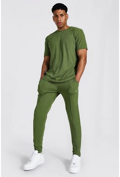 Khaki Stripe Knitted T-shirt And Jogger Set