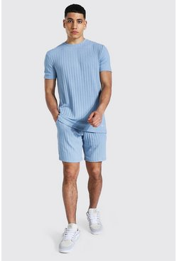 Stripe Knitted T-shirt And Short Set With Tab, Blue Синий