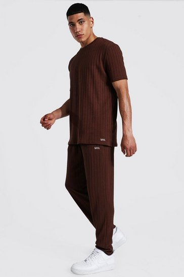 Chocolate brown Stripe Knitted T-shirt And Jogger Set