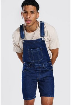 Dark blue blue Slim Rigid Short Dungaree