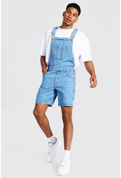 Light blue blue Slim Rigid Short Dungaree
