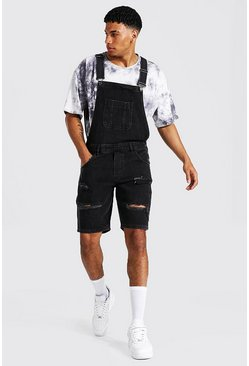 Washed black Relaxed Fit Distressed Short Dungaree