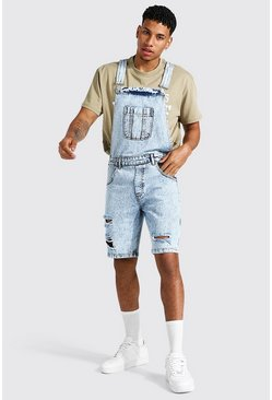 Ice blue Relaxed Fit Distressed Short Dungaree