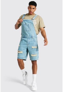 Antique blue Relaxed Fit Distressed Short Dungaree