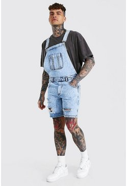 Ice blue Slim Rigid Multi Rip Short Dungaree