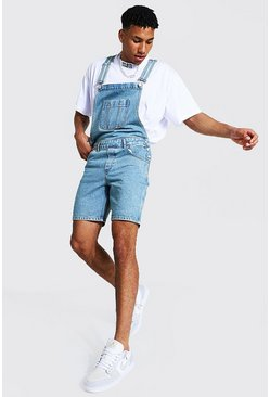 Antique blue Slim Rigid Short Dungaree